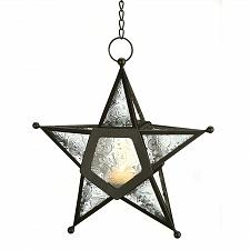 Buy 12287U - Clear Pressed Glass Star Candle Lantern Wrought Iron