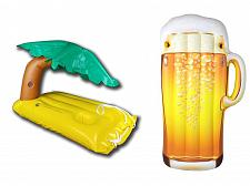 Buy Inflatable Beer Bottle Pool Floats and Palmtree Island Floating Drink Holder