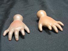 """Buy Vintage Bisque Porcelain Doll Hands African American socket 2 1/8"""" Long"""