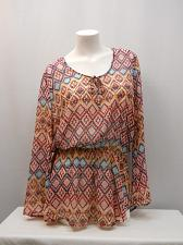 Buy Womens Peplum Top SIZE 2XL NO BOUNDARIES Bell Sleeve Lace Insert Sheer Diamond