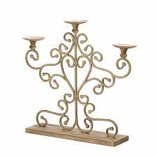 Buy *15540U - Antiqued Cast Iron Candelabra Stand 3 Pedestal Pillar Candle Holder