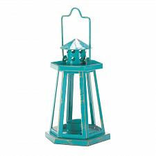 Buy *16388U - Distressed Aqua Metal Lighthouse Mini Tea Light Candle Lantern
