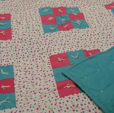 Buy Handmade Quilts Floral Patchwork Hand Tied Quilt Pink & Blue 60X78