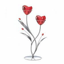 Buy *17745U - Two Hearts In Bloom Red Flower Buds Votive Candle Holder