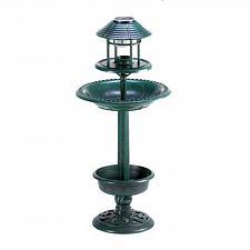 Buy 12967U - Verdigris Finish Garden Birdbath Planter Solar Night Light