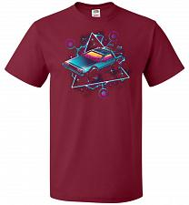 Buy Retro Wave Time Machine Unisex T-Shirt Pop Culture Graphic Tee (XL/Cardinal) Humor Fu