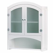 Buy 35013U - Bathroom Cabinet w/Towel Bar White Wood Glass Doors
