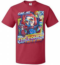 Buy Give Me The Power Chucky Adult Unisex T-Shirt Pop Culture Graphic Tee (5XL/True Red)