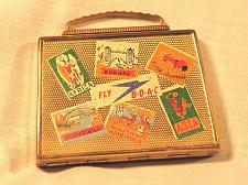 Buy Vintage Ladies Compact BOAC Airlines Figural Suitcase w/ Bag 1940s Britain