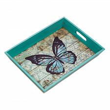 Buy *18168U - Blue Butterfly Fir Wood Serving Tray