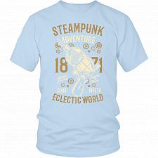 Buy Steampunk Adventure Adult Unisex T-Shirt Pop Culture Graphic Tee (Ice Blue/District U