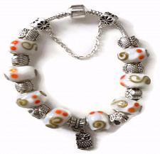 Buy Owl European Silver Charm Bracelet With White Orange Tan Design Murano Beads