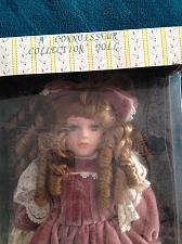 """Buy Beautiful Porcelain doll with Mauve Velvet & Lace Dress & Hat 16"""" Connoisseur Co"""
