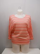 Buy Womens Crochet Knit Top PLUS SIZE 3XL ZENOBIA Sheer Coral Striped Dolman Sleeves