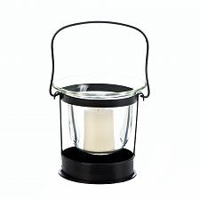 Buy :10740U - Clarity Black Iron Votive Candle Glass Cup Lantern