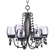 Buy *15103U - Midnight Elegance Smoked Glass Black Bead Chandelier Candle Holder
