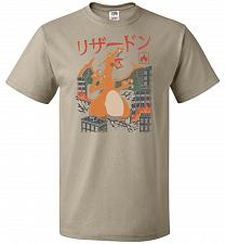 Buy Fire Kaiju Unisex T-Shirt Pop Culture Graphic Tee (S/Khaki) Humor Funny Nerdy Geeky S