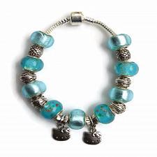 Buy European Silver Charm Bracelet Kitty With Light Blue Murano Beads