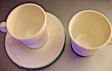 Buy Corelle 2 Cups and Saucers Calla Lilies Blue Rim 4 Pieces EUC