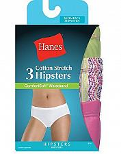 Buy 6 Pair Hanes Women's Cotton Stretch Hipster Panties with ComfortSoft Waistband