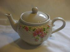 Buy Teleflora White PorcelainTeapot With Pink Flower Motifs Holds 3.5 Cups Liquid