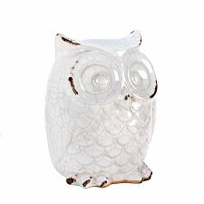 Buy *15684U - Distress Finish Ceramic White Owl Figurine