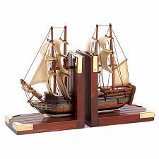 Buy D1297U - Sailing Schooner Nautical Ship Figure Wood Bookends