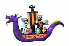 Buy BZB Goods 11 Foot Long Halloween Inflatable Dragon Pirate Ship Skeletons Scen...