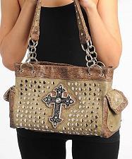 Buy Women Hobo Handbag Purse Faux Leather Brown Embellished Jeweled Cross Studded