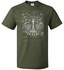 Buy Vitruvian Rick Unisex T-Shirt Pop Culture Graphic Tee (4XL/Military Green) Humor Funn