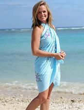 Buy Blue Sarong Beach Cover Up Hibiscus Flower Hand Painted #KMI-7062