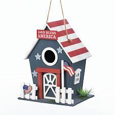 Buy *18075U - Small Patriotic American Flag Wooden Birdhouse