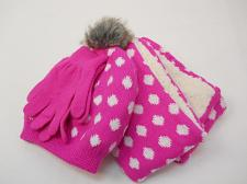 Buy Girls 3 PC Knit Set Scarf Hat Gloves Pink Polka Dot Print One Size Shearling