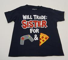 Buy Gildan Boys Graphic T-Shirt Size M Will Trade Sister For Games and Pizza Navy