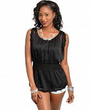 Buy Womens Peplum Top Size S M Solid Black Chiffon Overlay Lace Trim JAJA