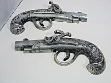 "Buy Pair Vintage Metal Pistol Revolver Gun Wall Decor Hangings 11"" Lot 2 Handguns"