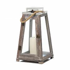 "Buy *18175U - Large 16"" Pyramid Wooden Pillar Candle Lantern w/Rope"