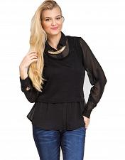Buy Layered Knit Top Size 1XL Black Long Sleeve Collared Neck Sheer FINESSE