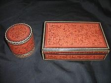 Buy ANTIQUE BURMESE 6-pce Desk Top Box and Canister Set Vintage: 1890s