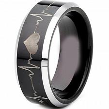 Buy coi Jewelry Titanium HeartBeat Wedding Band Ring
