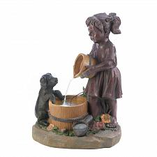 Buy *16927U - Bucketful Little Girl Pig LED Light Water Fountain Garden Yard Art