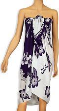 Buy Rayon Beach Sarong - White/Purple Hibiscus #KMI-7003H