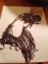 Buy jewelry set multicolored chained necklace and pierced hoop earrings