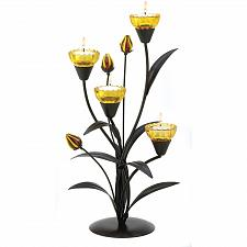 Buy 13770U - Tiger Lily Iron Sculpture Yellow Glass Cup Tea Light Candle Holder