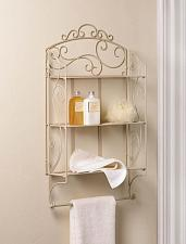 Buy *17970U - Ivory Scrollwork Iron Display Wall Shelf