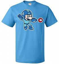 Buy Mega Mario Unisex T-Shirt Pop Culture Graphic Tee (M/Pacific Blue) Humor Funny Nerdy