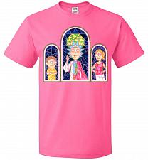 Buy Rick And Morty Stain Glass Unisex T-Shirt Pop Culture Graphic Tee (L/Neon Pink) Humor