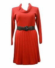 Buy Womens Sweater Dress AGB PLUS SIZE 1X Scarlet Red Long Sleeve Cowl Neck Belted