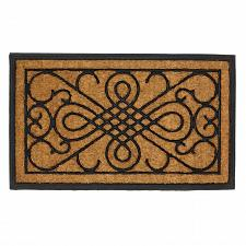 "Buy *17414U - Entry Way Rubber & Coir 30"" Door Mat Scrollwork Design"
