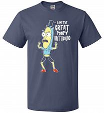 Buy The Great Poopy Buttholio Unisex T-Shirt Pop Culture Graphic Tee (M/Denim) Humor Funn